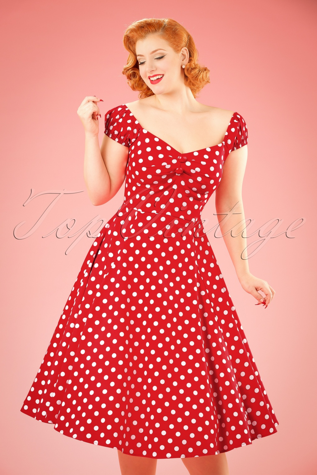 50s Dolores Doll dress Red White polka swing dress