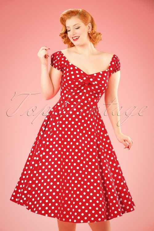 e1a53f6dd16d2 Collectif Clothing Red Polkadot Dolores Swing Dress 10244 1W