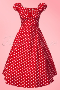 Collectif Clothing Dolores Red Polkadot Swing Dress 10244 1W