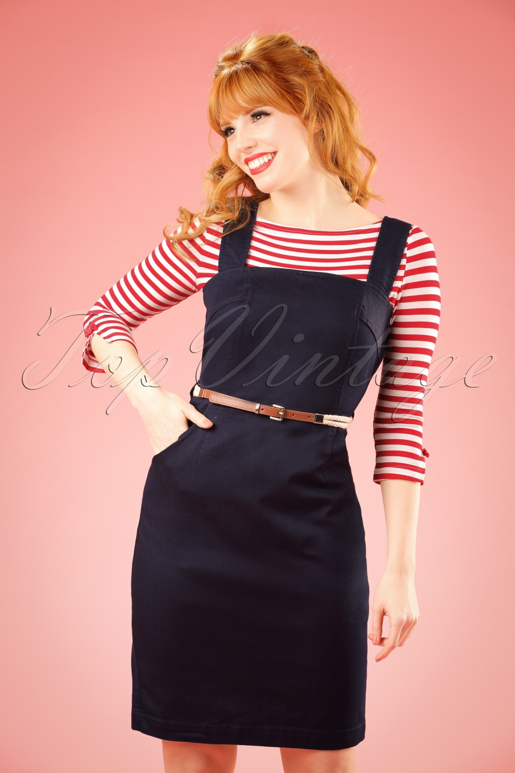 Vintage Overalls 1910s -1950s Pictures and History 60s Denise Denim Pinafore in Dark Blue £78.14 AT vintagedancer.com