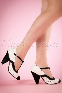 40s Paige T-Strap Pumps in Black and White