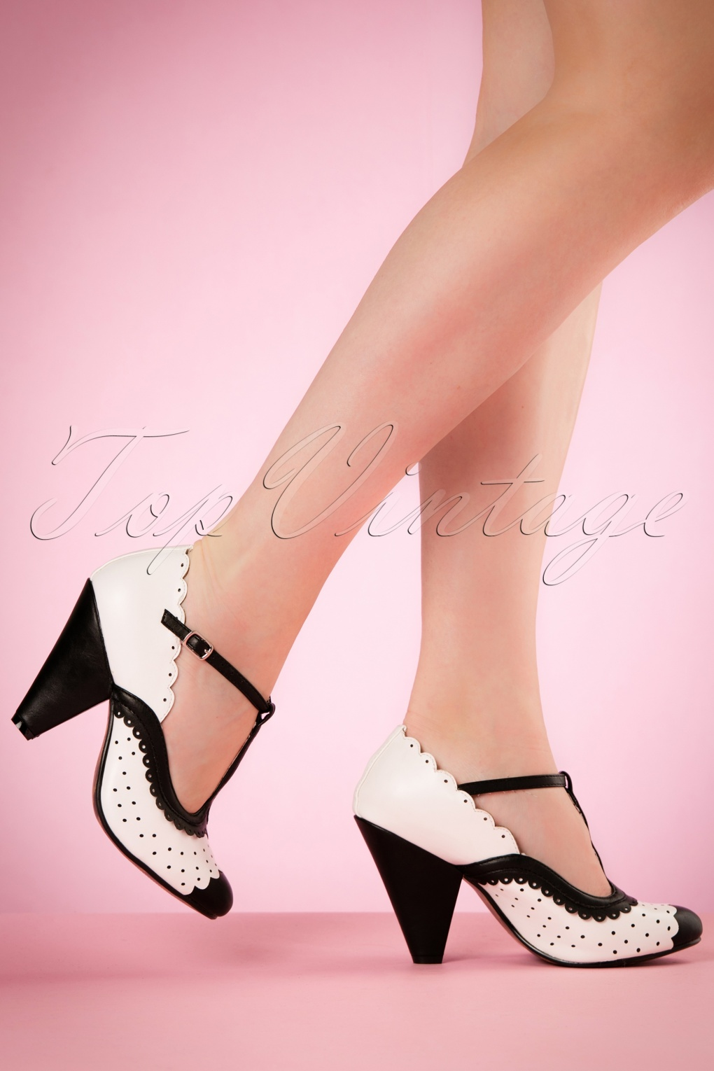1940s Style Shoes 40s Paige T-Strap Pumps in Black and White £69.45 AT vintagedancer.com