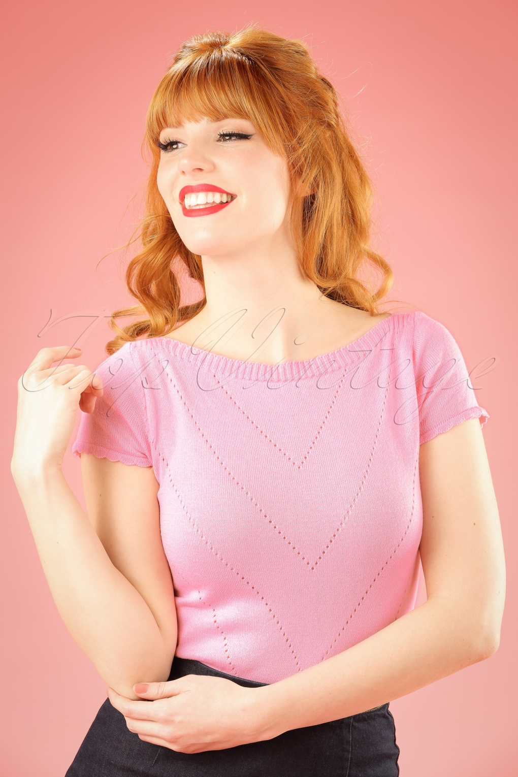 Shop 1960s Style Blouses, Shirts and Tops 60s Solene Top in Blush £50.86 AT vintagedancer.com