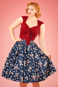 50s Oceana Sailor Swing Skirt in Navy