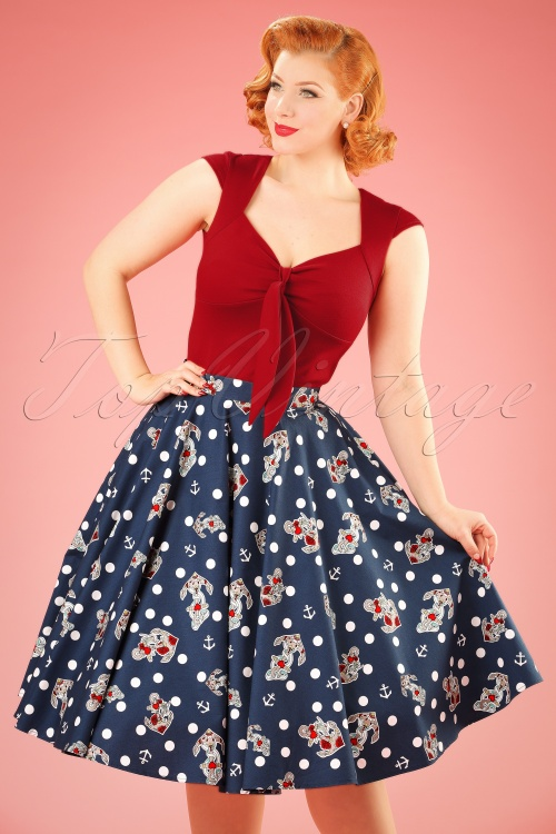 Bunny Oceana 50s Swing Skirt in Navy 122 39 21053 01202017 016W