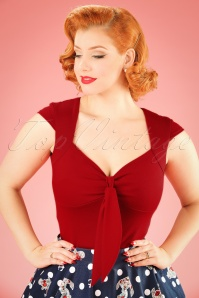50s Solid Sweetheart Tie Top in Red