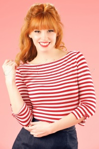 Banned Retro 50s Modern Love Stripes Top in White and Red