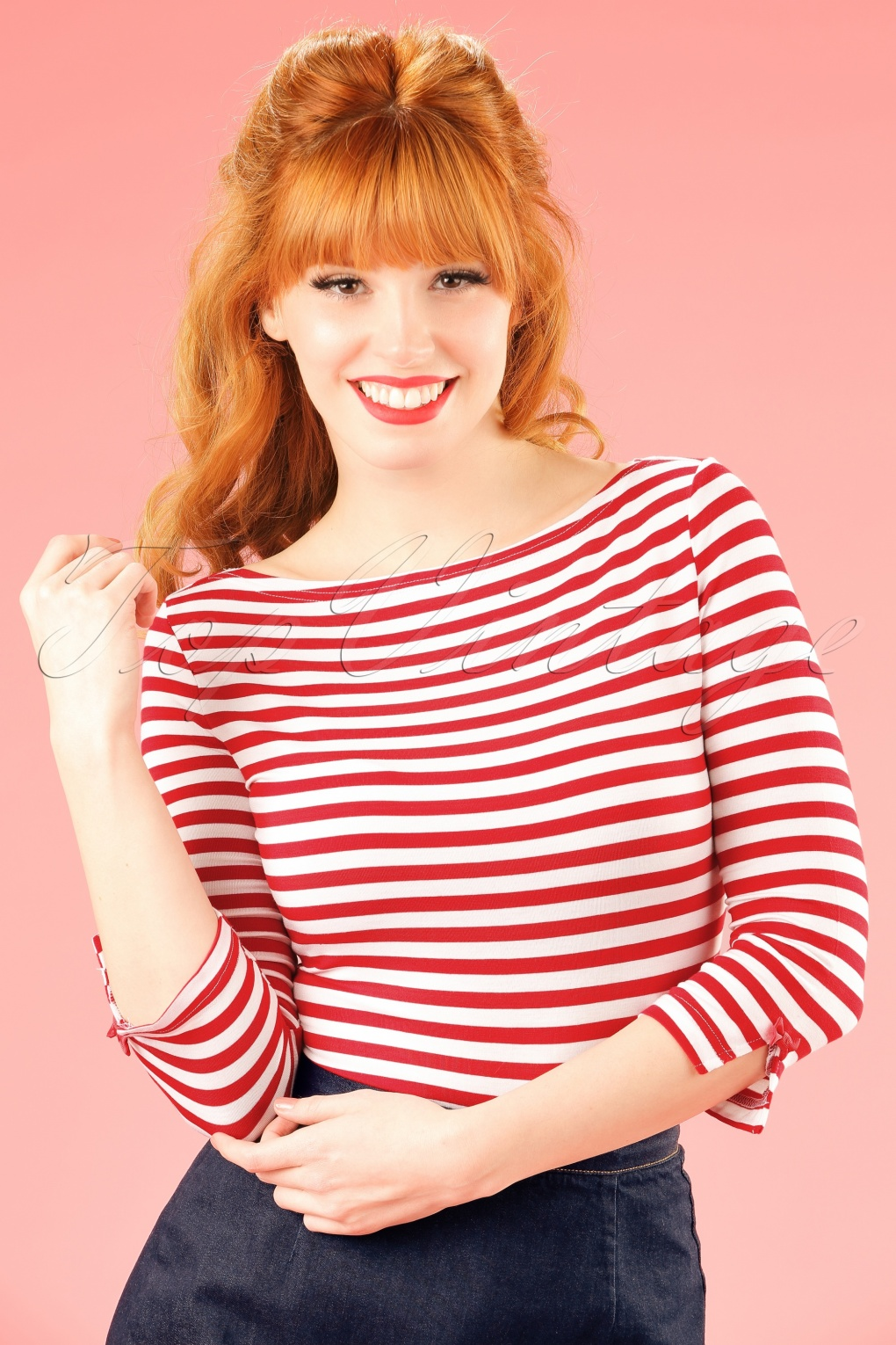 Sailor Dresses, Nautical Theme Dress, WW2 Dresses 50s Modern Love Stripes Top in White and Red  AT vintagedancer.com