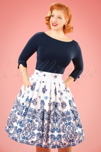 50s Follow You Swing Skirt in Ivory