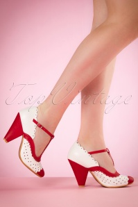40s Paige T-Strap Pumps in Red and White