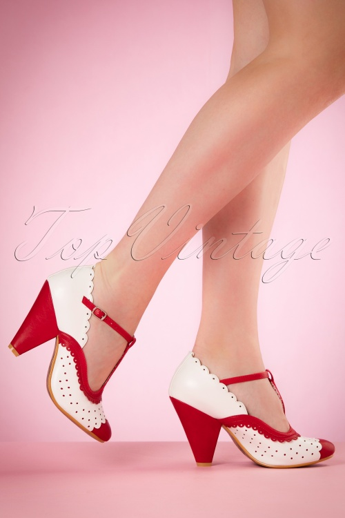 Bettie Page Shoes Page T strap Red Pumps 401 27 19962 02232017 004W