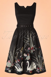50s Delta Swan Border Swing Dress in Black