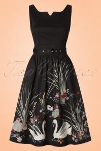 Lindy Bop Delta Swan Border Swing Dress 102 10 21236 20170301 0014w