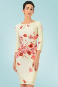 Vintage Chic Red Cream Floral Pencil Dress 100 57 21509 20170307 01