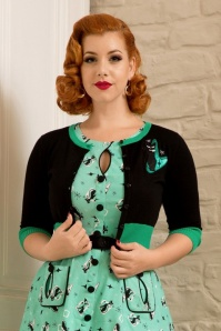 60s Jade Cat Cardigan in Black and Green