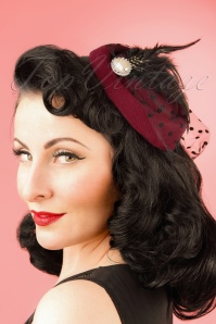 Dancing Days by Banned Burgundy Fascinator 201 20 21081W
