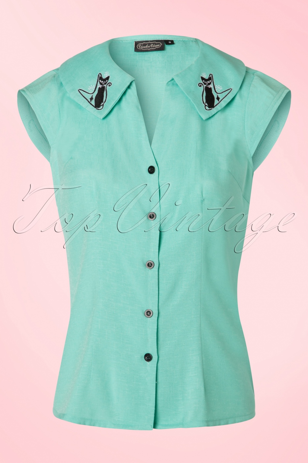 1950s Rockabilly & Pinup Tops, Shirts, Blouses 50s Maya Cat Blouse in Mint Green £34.32 AT vintagedancer.com