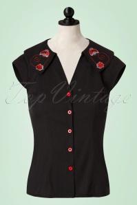 50s Nena Ladybug Blouse in Black