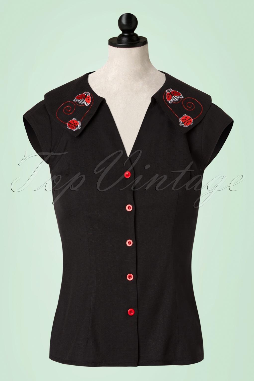 Vintage & Retro Shirts, Halter Tops, Blouses and more 50s Nena Ladybug Blouse in Black £39.02 AT vintagedancer.com