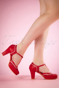 50s Taylor T-Strap Pumps in Red