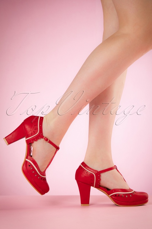 Bettie Page Shoes Taylor Red T strap Pumps 401 20 19954 02232017 002W