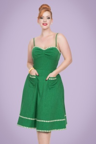 50s Delilah Daisy Swing Dress in Green