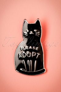 Darling Divine 60s Please Adopt Cat Brooch in Black