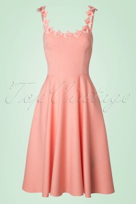 50s Violet Swing Dress in Light Pink