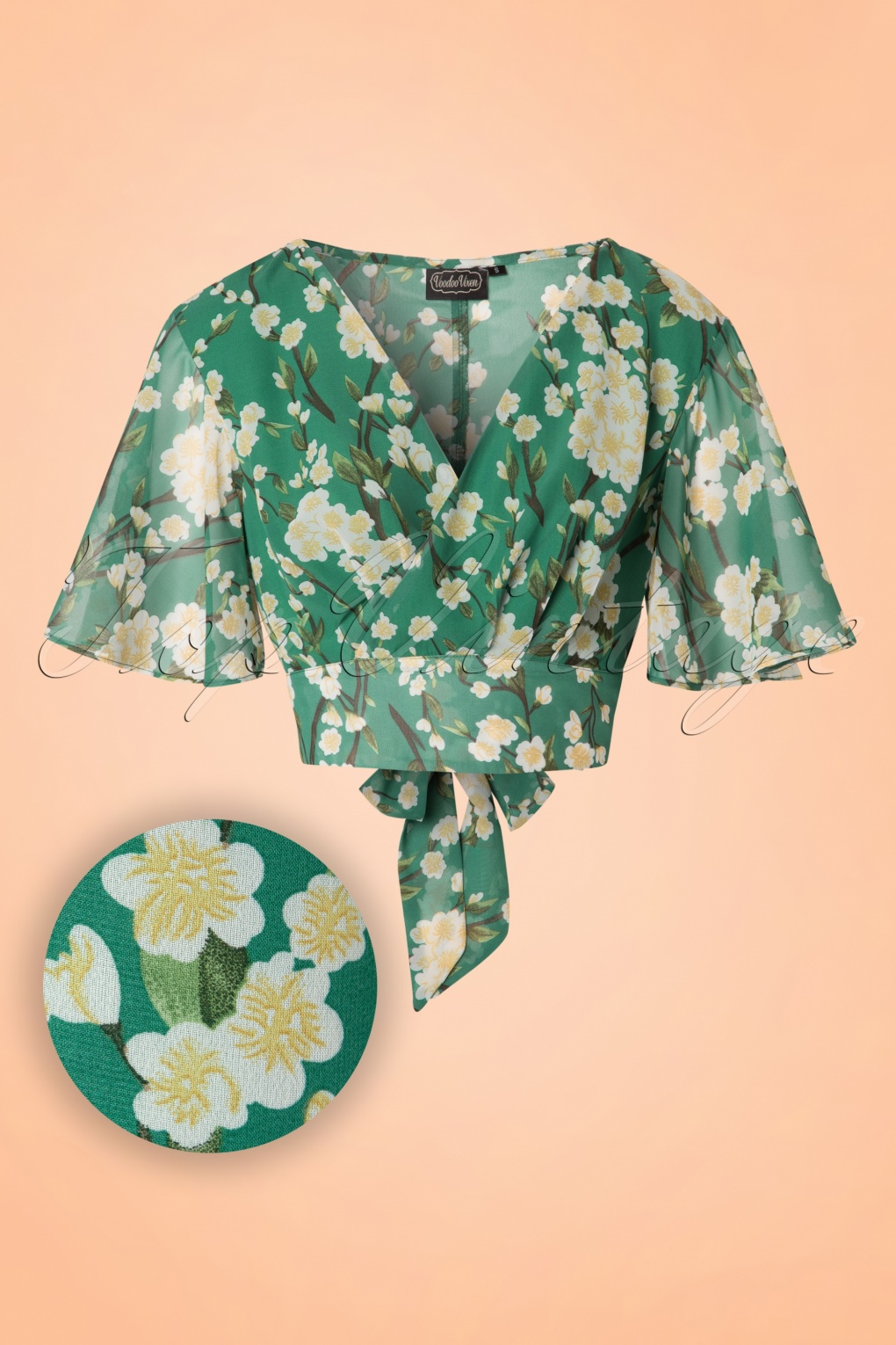 1940s Blouses and Tops 40s Leah Flowers Top in Green £32.22 AT vintagedancer.com