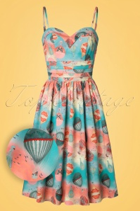 50s Aria Balloon Swing Dress in Blue