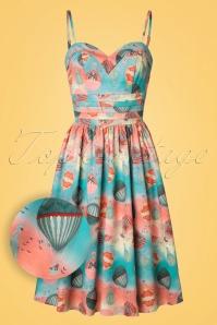 Aria Balloon Swing Dress Années 50 en Bleu