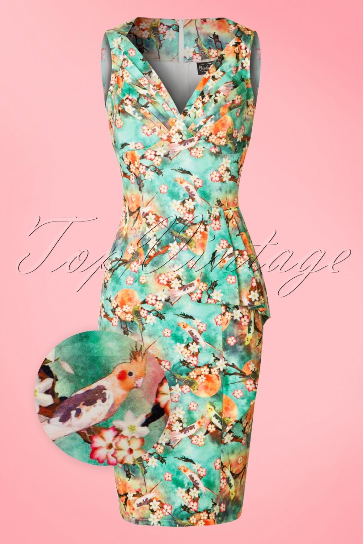 Wiggle Dresses 50s Jessa Floral Pencil Dress in Green £55.10 AT vintagedancer.com