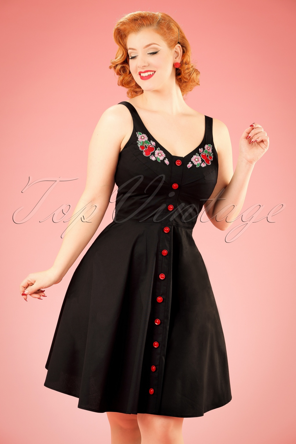 Pin Up Dresses | Pin Up Clothing 50s Lulu Cherry Swing Dress in Black £50.91 AT vintagedancer.com