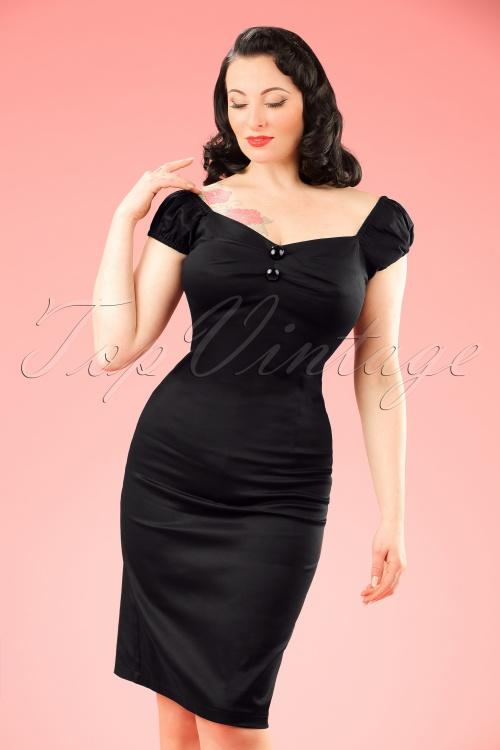 Collectif Clothing Dolores Black Pencil Dress 10248 2 w