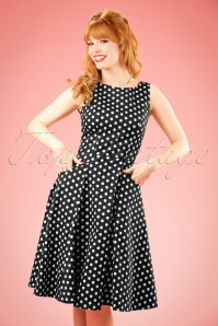 Collectif Clothing 50s Hepburn Polkadot Doll Dress in Black and White