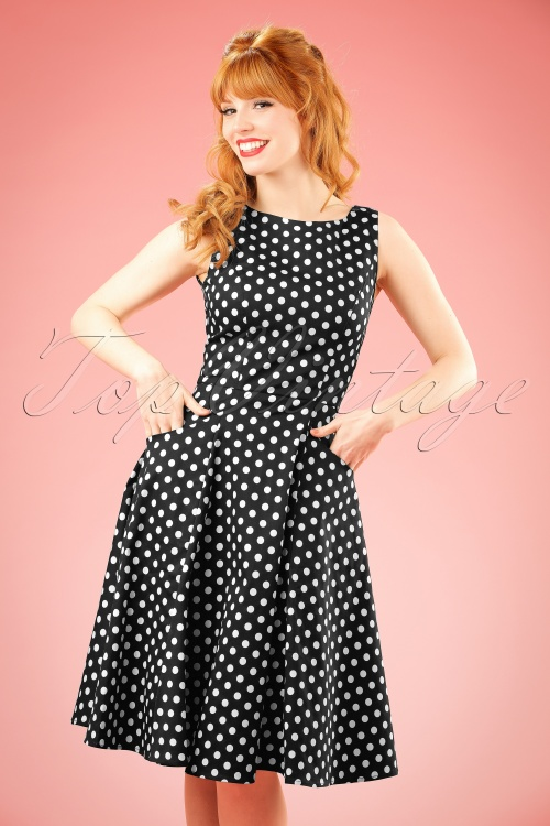 b7c75e294ef07 Collectif Cloting Hepburn Black and white Polkadot Dress 17673 20151119  0007 w
