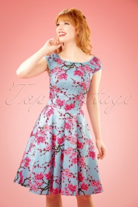 50s Alice Blossom Swing Dress in Blue