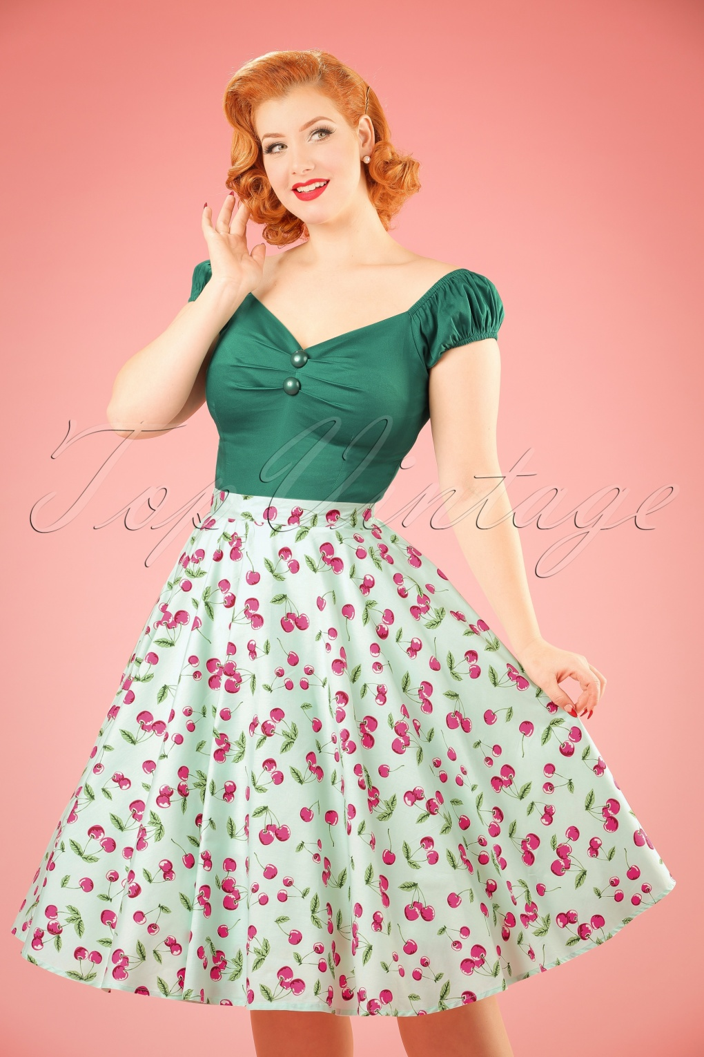 1950s Skirts for Sale: Poodle, Pencil, and Circle Skirts 50s April Cherry Swing Skirt in Mint Green £34.70 AT vintagedancer.com