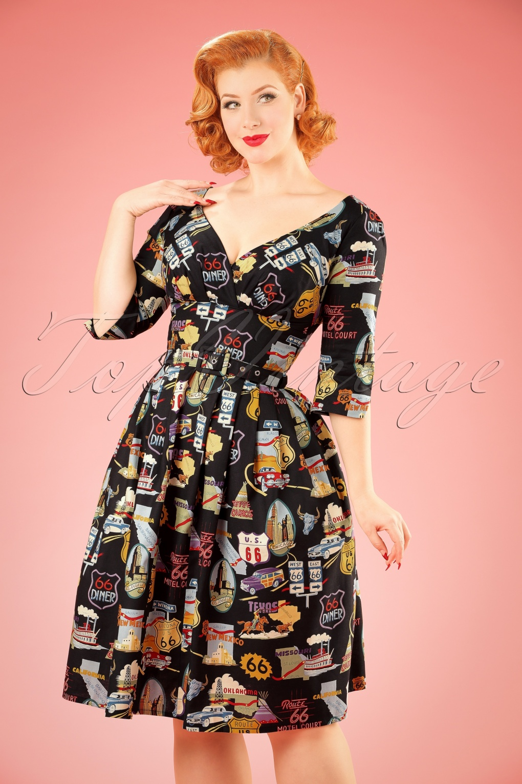 TopVintage Exclusive ~ 50s Livia Route 66 Frock Swing Dress in Black