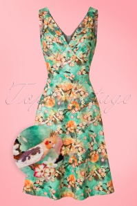 50s Lizabeth Floral Swing Dress in Green