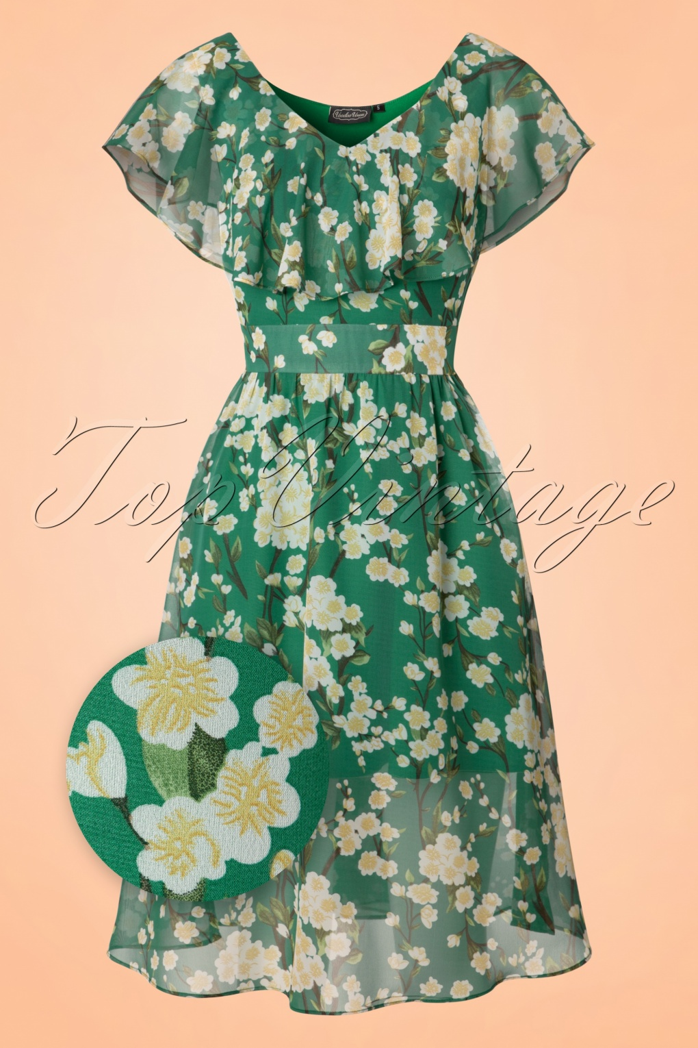1930s Style Day Dresses Agatha Floral Swing Dress in Green £56.42 AT vintagedancer.com
