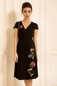 50s Primrose Wrap Dress in Black