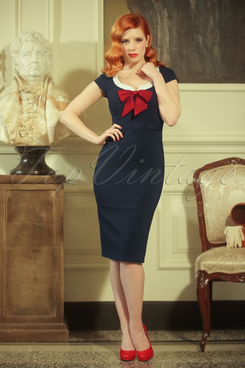 Vintage Diva Dovima Pencil Dress in Dark Navy 20478 20170126 0016haarw