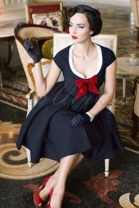 Vintage Diva Dovima Swing Dress in Dark Navy 20479 20170301 0016cw