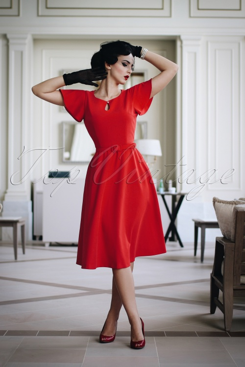 Vintage Diva The Cherié Dress in Bright Red 20598 20170127 0013c1w