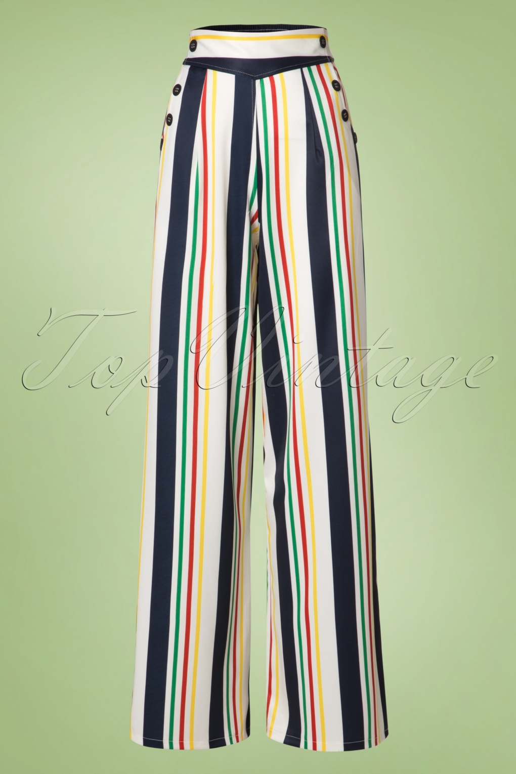 1930s Women's Pants and Beach Pajamas 40s Hailey Striped Trousers in White £52.49 AT vintagedancer.com