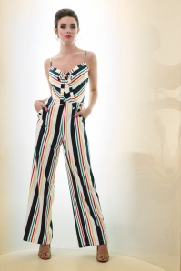 40s Zarah Stripes Jumpsuit in White