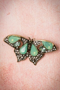 30s Mystic Butterfly Brooch in Pacific Green