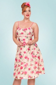 50s Tabitha Roses Swing Dress in Cream