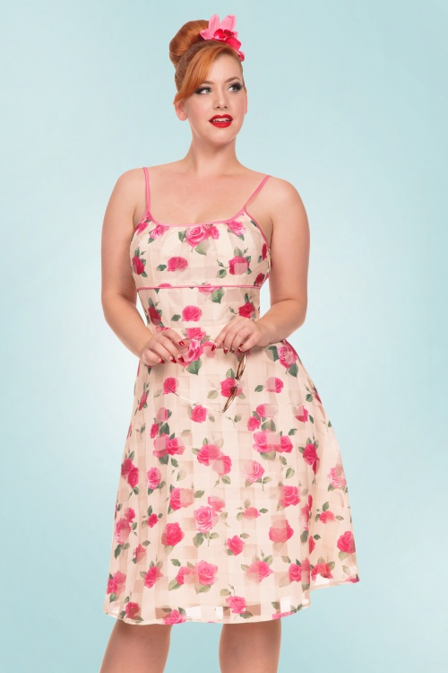 Vixen Tabitha Beige Floral Swing Dress 102 57 20438 20170307 001